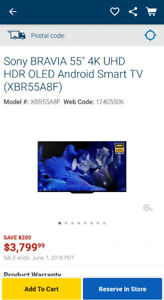 """NEW SONY BRAVIA 55"""" 4K UHD HDR OLED ANDROID SMART TV (XBR55A8F)"""