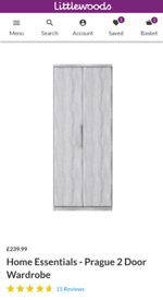 2 door Wardrobe - grey. Brand New - 2 available