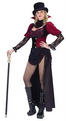 Ladies Burlesque Victorian Vampiress Halloween Fancy Dress Costume Outfit 10-12](Victorian Burlesque Costume)