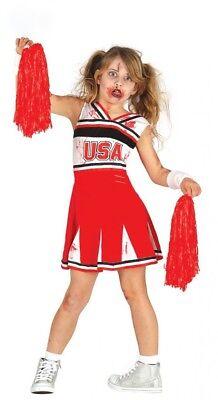 Mädchen Halloween Kostüm Zombie-Cheerleader Kleid blutig Kinder Horror USA Sport