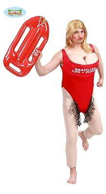 Costume vestito bagnina Baywatch Pamela Anderson uomo con parrucca e salvagente  (Pamela Anderson Kostüme)