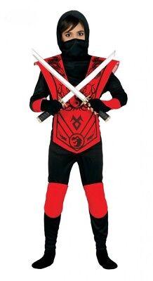 6-teiliges Ninja Kostüm für Jungen Rot/Schwarz Kinder Samurai Kämpfer Teenager ()
