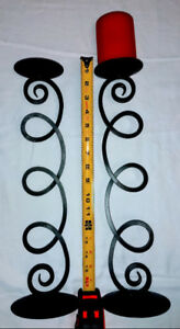 Wrought Iron Pillar Candle Holders