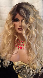 Human Hair Blend Swiss LACE FRONT Long Curly Rooted