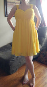 Bright yellow bridesmaid dress