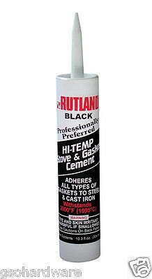 RUTLAND 2,000 deg, Black Hi-Temp Stove & Gasket Cement 10.3 oz. cartridge NEW!
