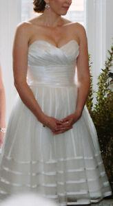 White Tulle Tea Length Wedding Dress