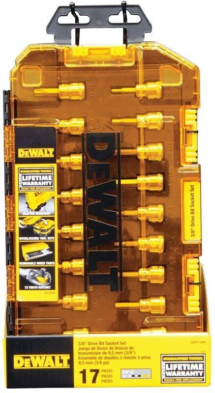 17 Piece DEWALT DWMT73806 Tough Box Tool Kit 3//8 Drive Socket Set