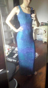 Long Blue / Purple / Green Sparkly Dress w/ Scarf