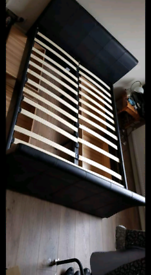 Double leather bed with drawers