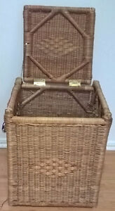 Vintage Wicker Laundry Hamper with Lid,