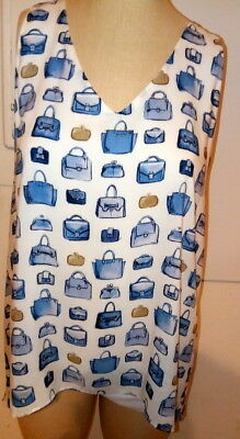 nwt Karen Kane L womens DRIFTWOOD purses blues print handkerchief tank top  $118