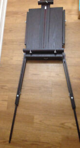Dark Wood Standing Artist's Easel With Acrylic Paints, New