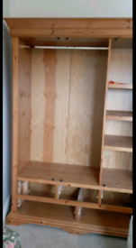 Large pine wardrobe, hanging space, shelving and 5 drawers