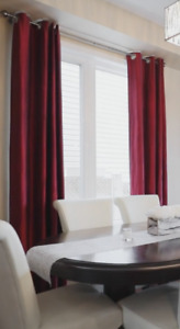 Long Red Blackout Curtain Panels (2)