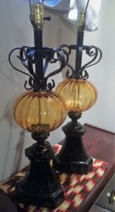 Vintage 1960's Glass Globe Table Lamps