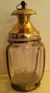 VINTAGE GLASS & BRASS CANDY JAR  -  JAPAN
