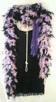 1920's FLAPPER Costume Black Fringe w/Feather Boa- Necklace -Gloves- Hair Band
