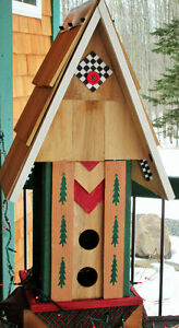 Decorative Tall Bird House- Hand crafted- reclaimed materials!