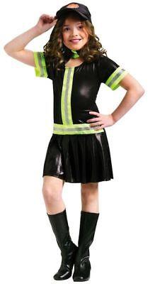 Fire Fighter Child Girls Costume Uniforms Fireman Fancy Dress Halloween L 12-14