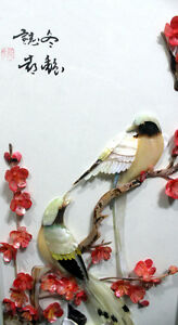 Chinese cut shell birds, flowers shadowbox signed art West Island Greater Montréal image 2