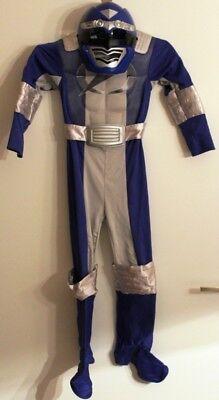 Kostüm Power Rangers Operation Overdrive + Maske M 128 Blau/Silbern Karneval