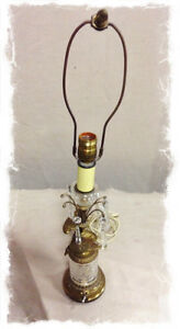 689: Brass and Crystal Lamp with Mythological Gryphon