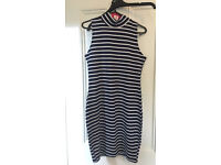 Boohoo white and blue striped high neck bodycon dress, size 12, new with tags