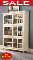 storage bookcases cabinets w. glass shelving units, 8891-12