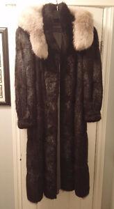 REDUCED:Black muskrat fur coat with detachable fox fur trim hood St. John's Newfoundland image 1