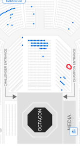 UFC FIGHT NIGHT VANCOUVER - ROW 9 WEST FLOOR BESIDE CHAMPION ENT