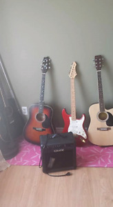 Four guitars for sale