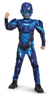 Brand New Blue Spartan Classic Muscle Halo Microsoft Costume