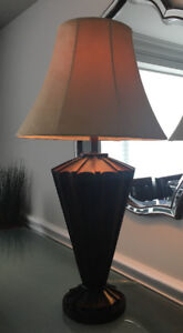 Chocolate Brown Solid Wood Lamp with Tan Shade