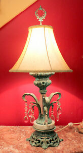 Lampe Francaise, faux finish effects, and crystals, silk shade West Island Greater Montréal image 5