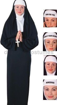 Naughty Nun Costume Black Habit Std - Plus Size Womens Xl Nunsense Sister Act