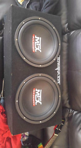 Two 12 inch mtx subs terminator box 400w amp
