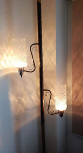 Retro Vintage Two Lamp Floor to Ceiling Pole Lamp.