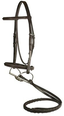 (DaVinci Plain Raised Comfort Crown Padded Bridle w/  Laced Reins  Horse)