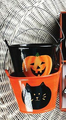 Halloween Ceramic Buckets ~ Candy Bowls ~ Pumpkins Cats Ghosts ~ Set/2](Halloween Candy Buckets)