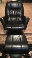 High End Genuine Black Leather swivel rocking chair with ottoman