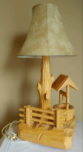 Vintage FolkArt by P.E.CARON Handcrafted Wood Table Lamp