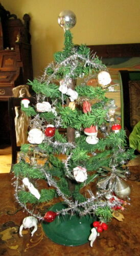 Antique  Christmas goose feather tree ,glass items ,cotton , Tinsel  Germany