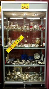 4 Silver Coloured Display Cabinets
