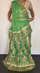 Un-Stitched Mehendi Sangeet Lehenga for sale
