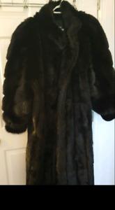 Full length black faux fur coat