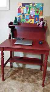 NEW PRICE - Solid Wood restored and refinished desk in dark red