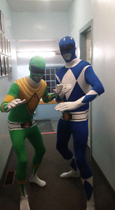 2 Power Ranger suits green(m) and blue (L)