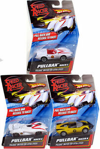 Hot Wheels Speed Racer PULLBAX LOT OF 3! Mach 5, Mach 6 and Racer X NEW Pullback