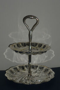 silver plated tiered Serving Dishes